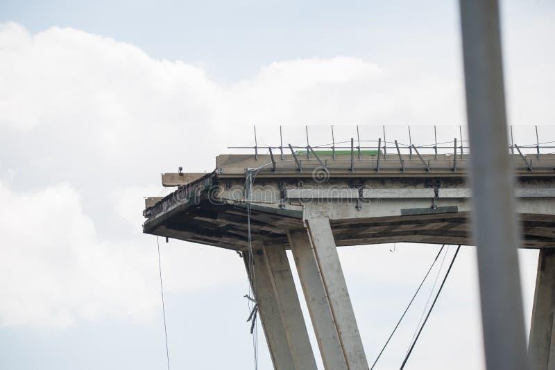 De instorting van hangbrug Morandi Ponte Morandi royalty-vrije stock foto's