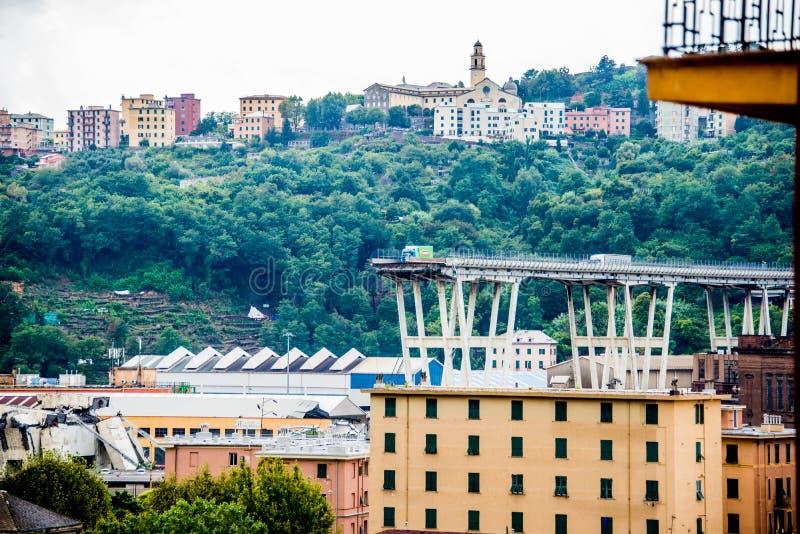 De instorting van hangbrug Morandi Ponte Morandi stock foto