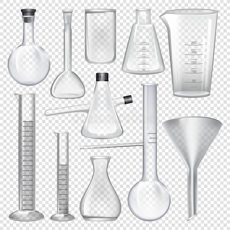 De instrumenten van het laboratoriumglaswerk Materiaal voor chemisch laboratorium stock illustratie
