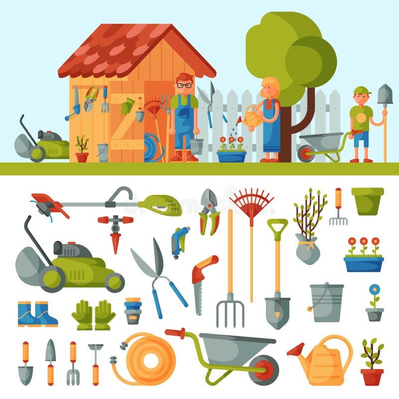 De instrumentenhulpmiddelen van het tuinlandbouwbedrijf en landbouwersfamilie dichtbij huis diverse landbouwhulpmiddelen voor het vector illustratie