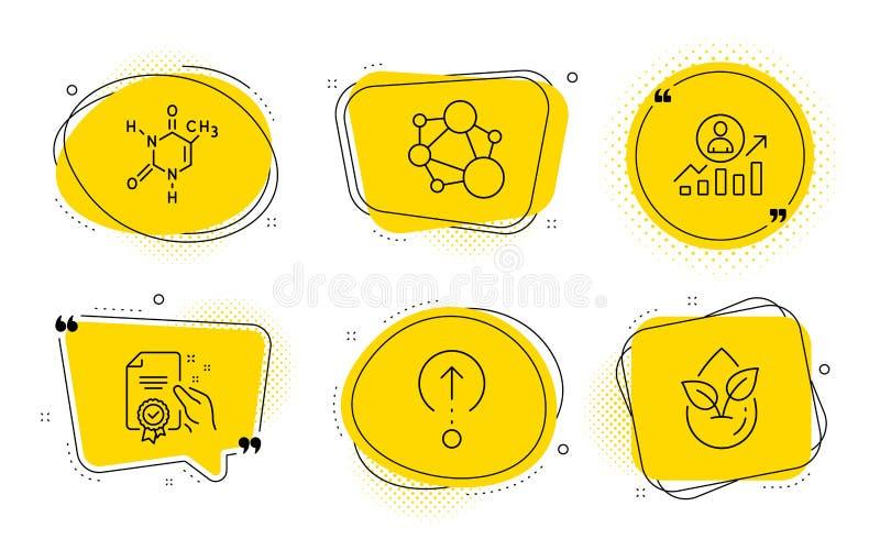 De integriteit, Carrièreladder en jat geplaatste omhoog pictogrammen Certificaat, Chemische formule en Biologisch producttekens V royalty-vrije illustratie