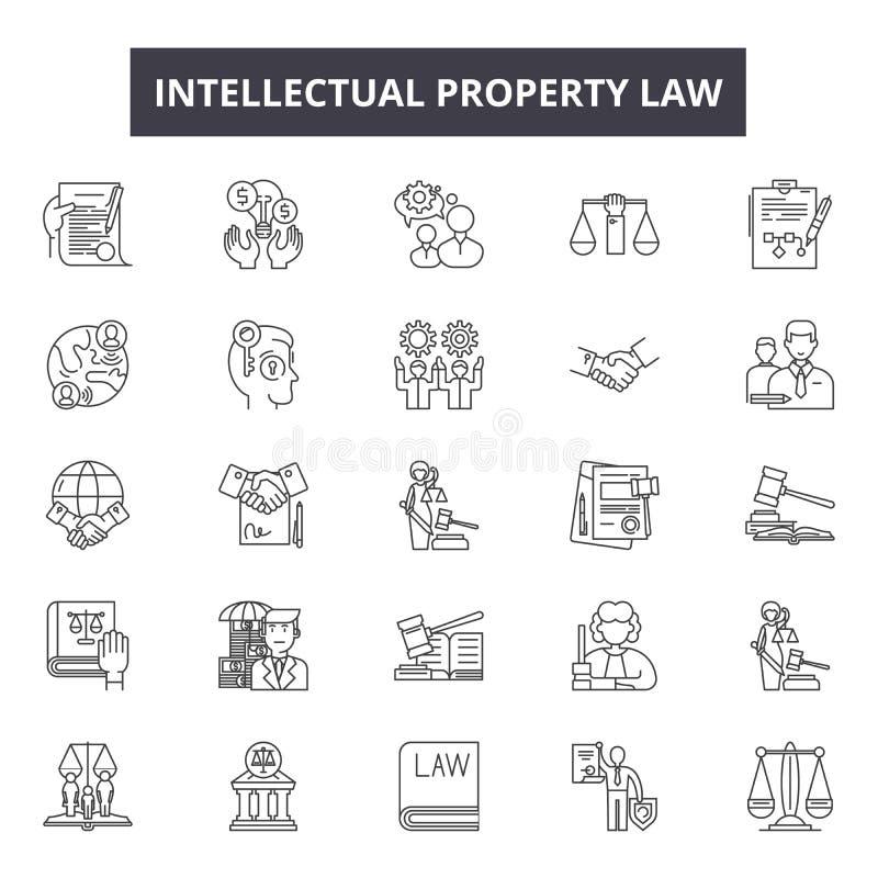 De intellectuele pictogrammen van de eigendomsrechtlijn, tekens, vectorreeks, lineair concept, overzichtsillustratie royalty-vrije illustratie