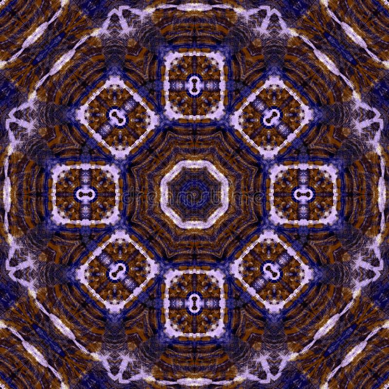 De intensieve cirkel van de kleurenbloem betegelt futuristisch hand geschilderd patroon vector illustratie
