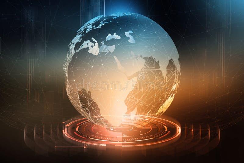 De intercâmbio de dados global Formação de uma rede de comunicação planetária Negócio no campo de tecnologias digitais ilustração royalty free