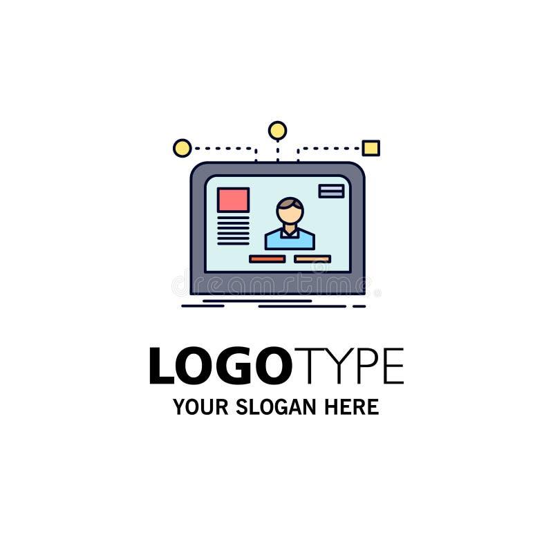 de interface, website, gebruiker, lay-out, ontwerpt de Vlakke Vector van het Kleurenpictogram royalty-vrije illustratie