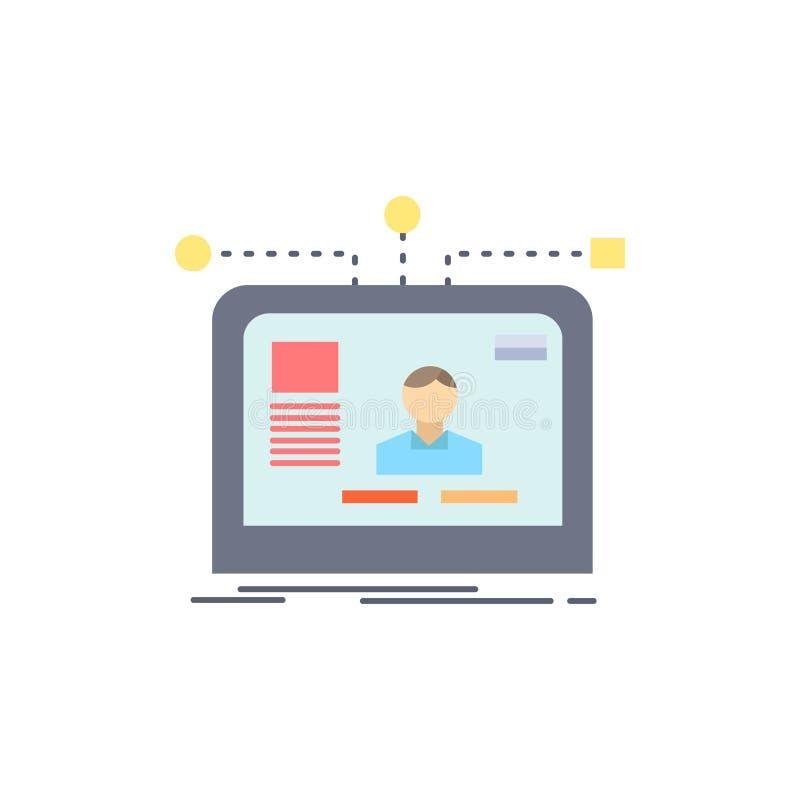 de interface, website, gebruiker, lay-out, ontwerpt de Vlakke Vector van het Kleurenpictogram vector illustratie