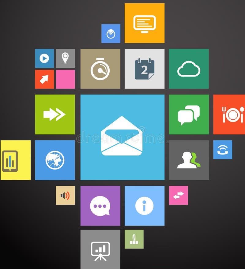 De interfacemalplaatje van het kleurenpictogram stock illustratie