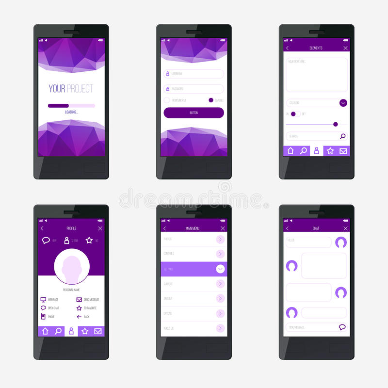 De interfaceontwerp van de malplaatje mobiel toepassing royalty-vrije illustratie