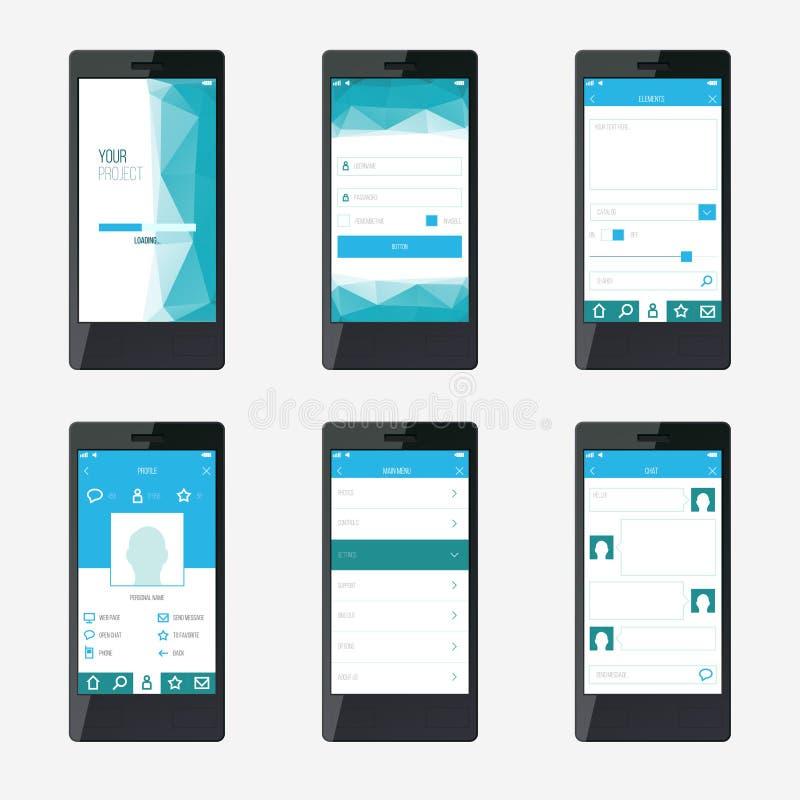 De interfaceontwerp van de malplaatje mobiel toepassing vector illustratie