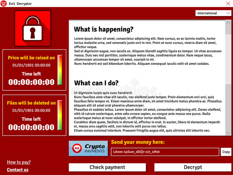 De interfacevenster die van het Cryptolockervirus besmette gegevens tonen die tijdopnemer schrappen royalty-vrije illustratie