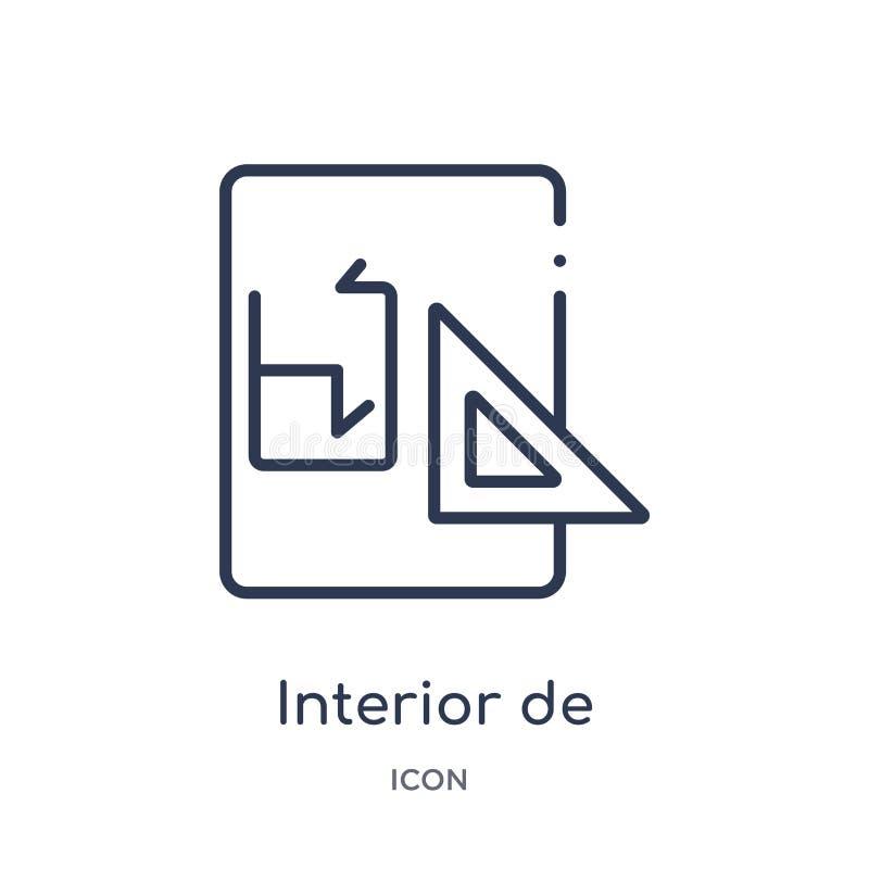 De interior linear icon de la colección del esquema de la construcción Línea fina de interior vector aislado en el fondo blanco I libre illustration