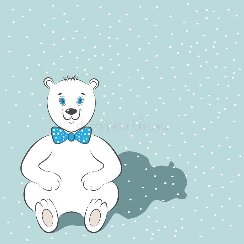 De internationale affiche van de Ijsbeerdag Leuk dier met blauwe vlinderdas De sneeuw is op de achtergrond Eenvoudige beeldverhaa stock illustratie