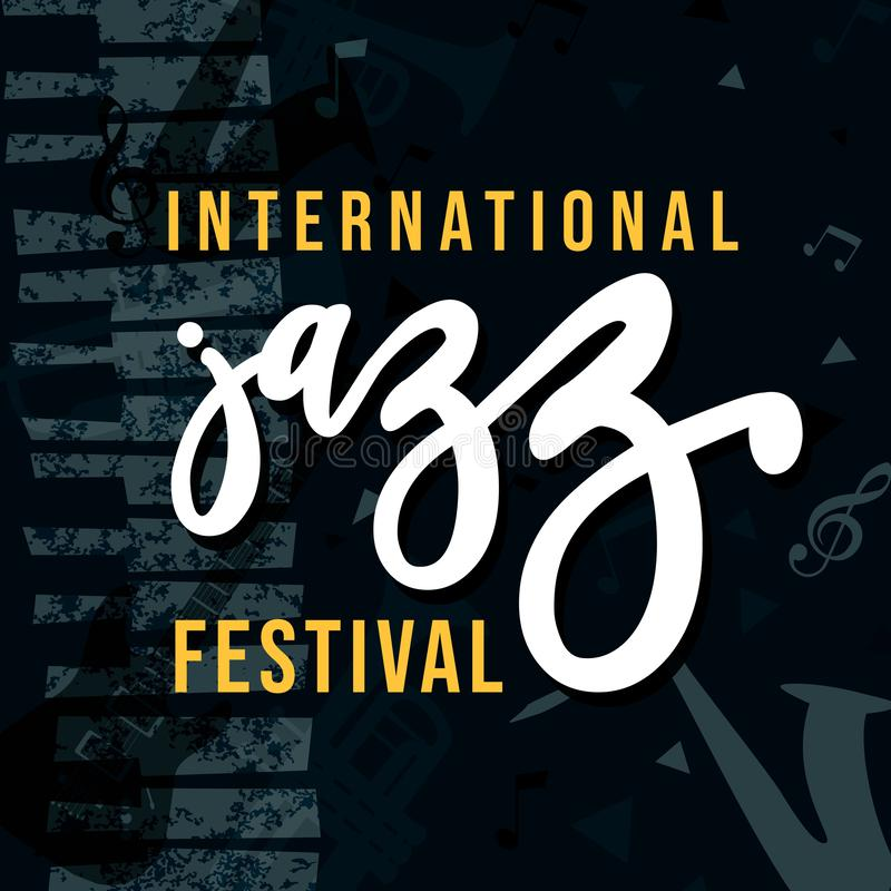De internationale affiche van het festival retro grunge van de Jazzmuziek stock illustratie