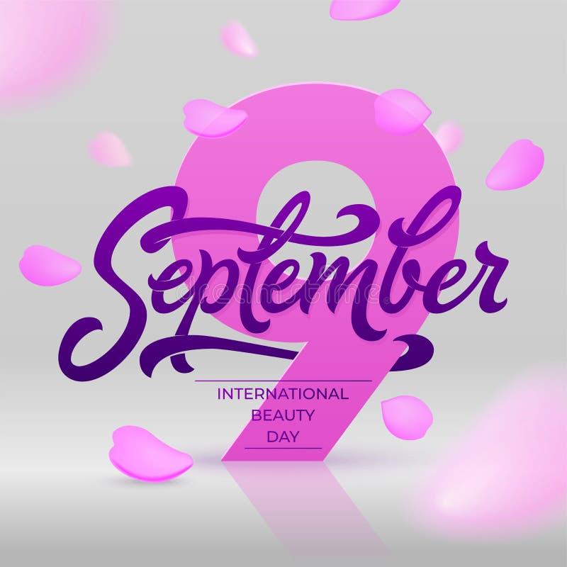 De internationale banner van de schoonheidsdag met het vliegen nam bloemblaadjes toe 9 september-het van letters voorzien Mooie v stock illustratie