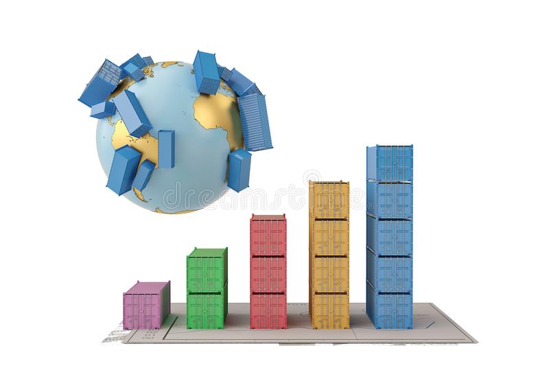 De internationale containers van het handelsconcept op aarde en bedrijfscha stock illustratie