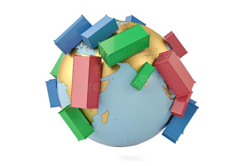 De internationale containers van het handelsconcept op bol 3d illustratie vector illustratie