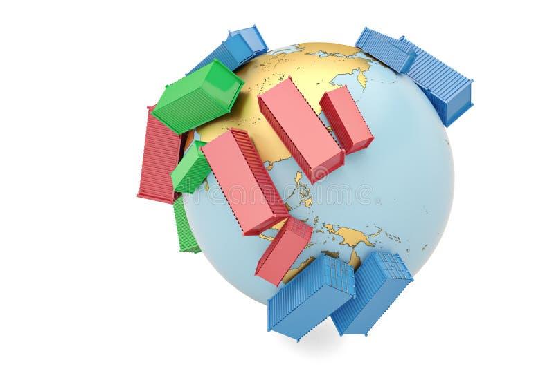 De internationale containers van het handelsconcept op bol 3d illustratie stock illustratie