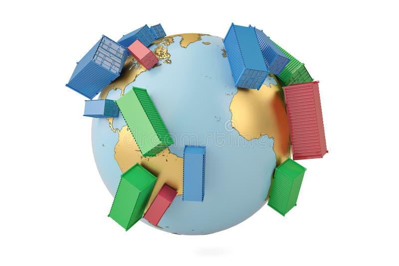 De internationale containers van het handelsconcept op bol 3d illustratie royalty-vrije illustratie