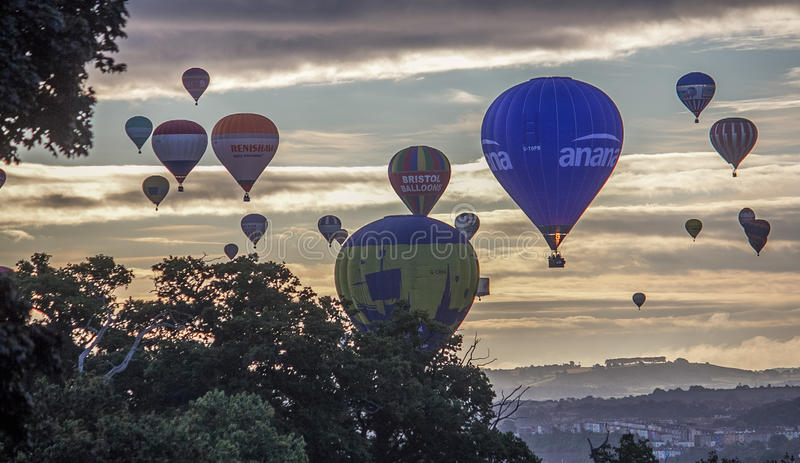 De internationale Fiesta van de Hete Luchtballon in Bristol stock afbeelding