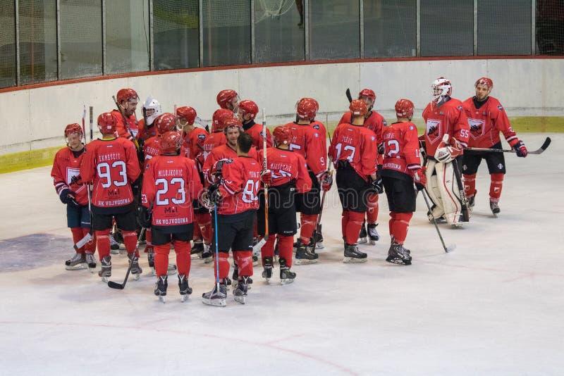 De internationale gelijke van de Hockeyliga IHL tussen HC Vojvoidna Novi Sad en HC Triglav Kranj royalty-vrije stock afbeelding