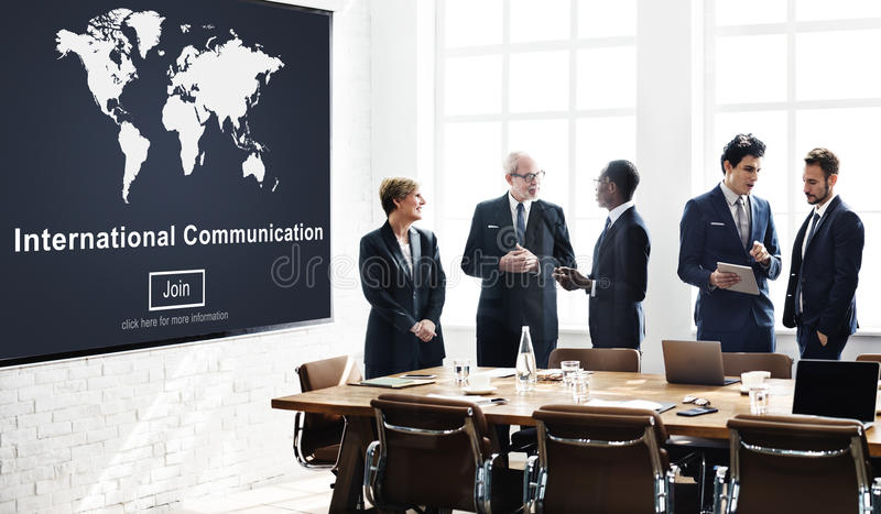 De internationale Globale Communicatie deelt Concept mee stock afbeeldingen