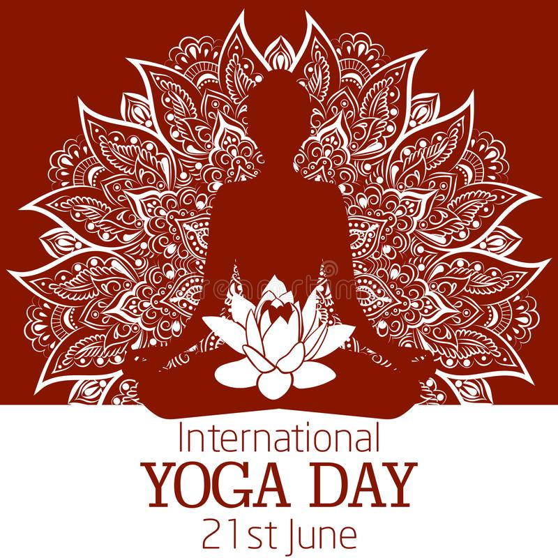 De internationale illustratie van de Yogadag met een mooie mandala en lotusbloembloem stock fotografie