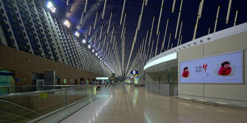 De Internationale Luchthaven van Shanghai Pudong stock afbeeldingen