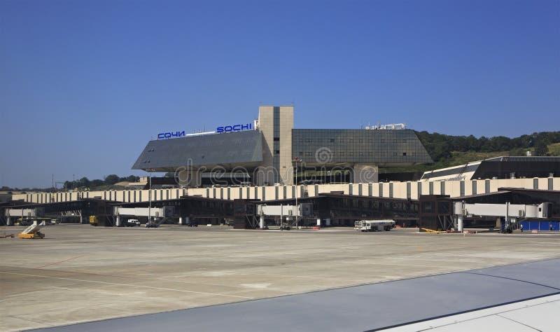 De Internationale Luchthaven van Sotchi in Adler-District van de toevluchtstad van Sotchi, op de kust van de Zwarte Zee in federa stock fotografie