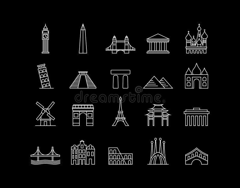 De internationale reeks van het de kunstpictogram van de oriëntatiepunt eenvoudige lijn vector illustratie
