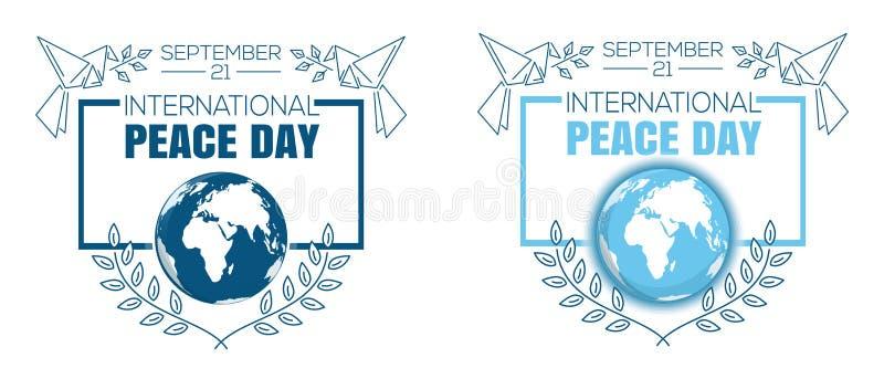 De internationale reeks van het het embleemontwerp van de Vredesdag royalty-vrije illustratie