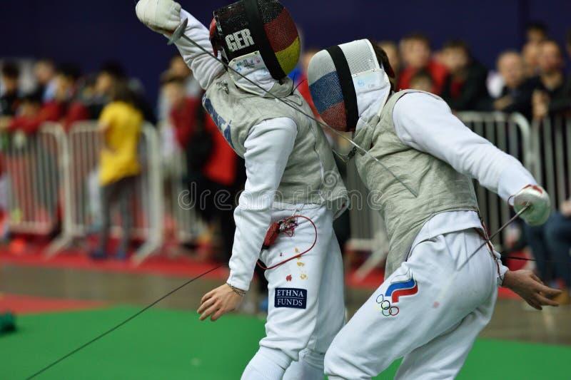 De internationale schermende Folie 2015 van toernooienst. petersburg stock foto's