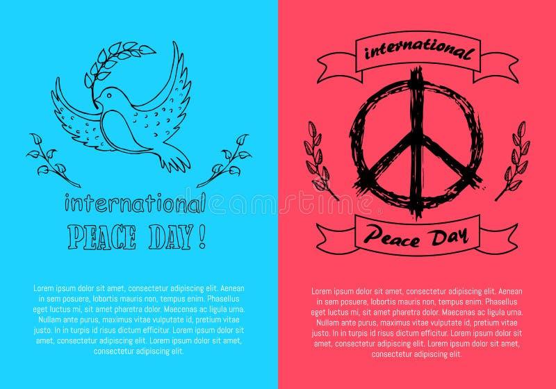 De internationale Symbolen van de Vredesdag op Heldere Affiches royalty-vrije illustratie