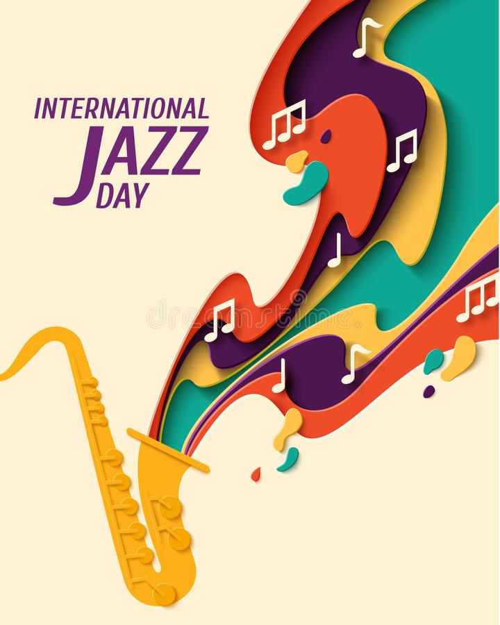 De internationale vectorachtergrond van Jazz Day vector illustratie