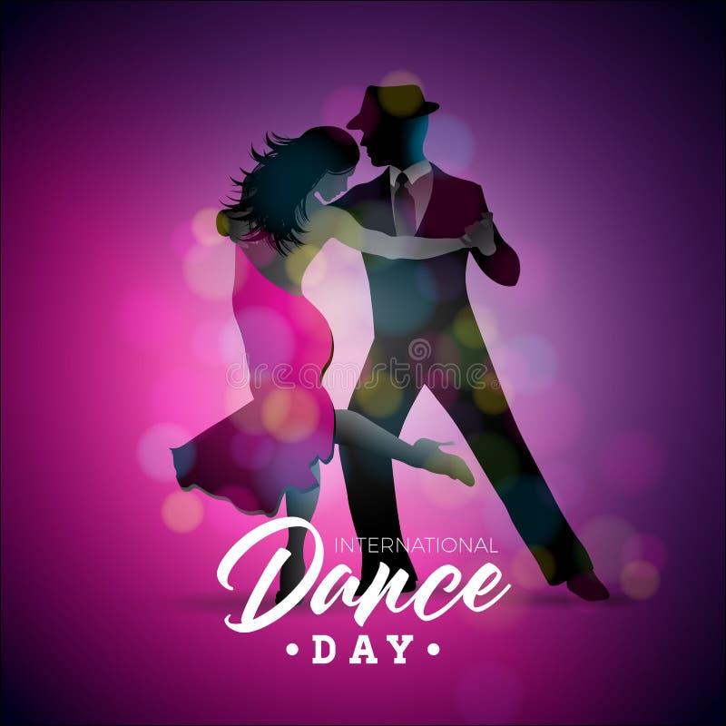 De internationale Vectorillustratie van de Dansdag met tango dansend paar op purpere achtergrond Ontwerpmalplaatje voor banner stock illustratie