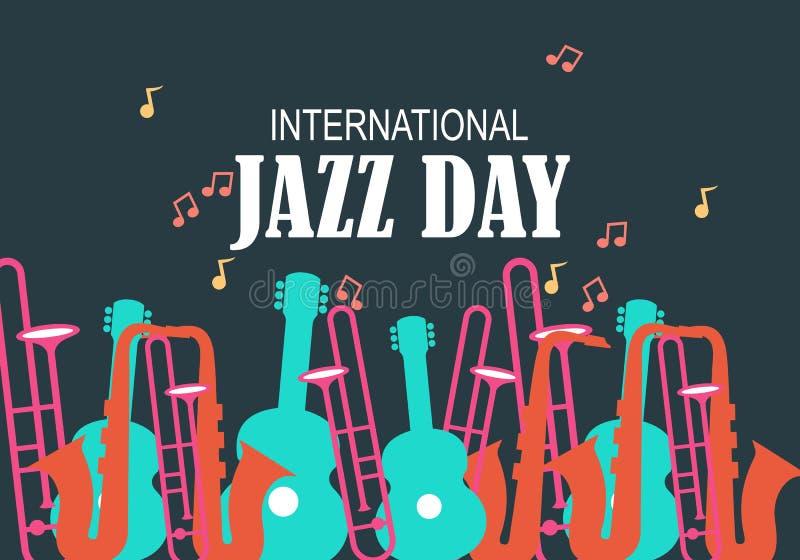 De internationale vectorillustratie van Jazz Day royalty-vrije illustratie