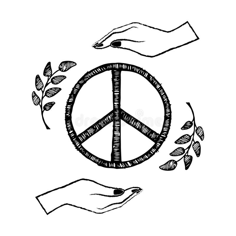 De internationale Vectorillustratie van de Vredesdag op Blauw stock illustratie