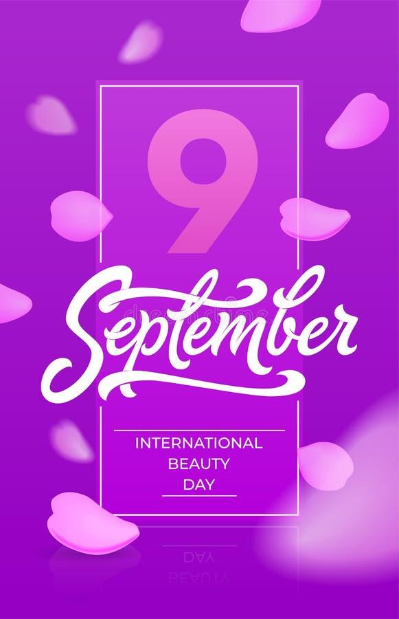 De internationale verticale banner van de schoonheidsdag met het vliegen nam bloemblaadjes toe 9 negen september-typografie Mooie vector illustratie