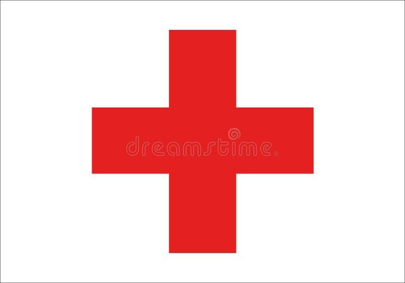De internationale vlag van het Rode Kruis royalty-vrije illustratie