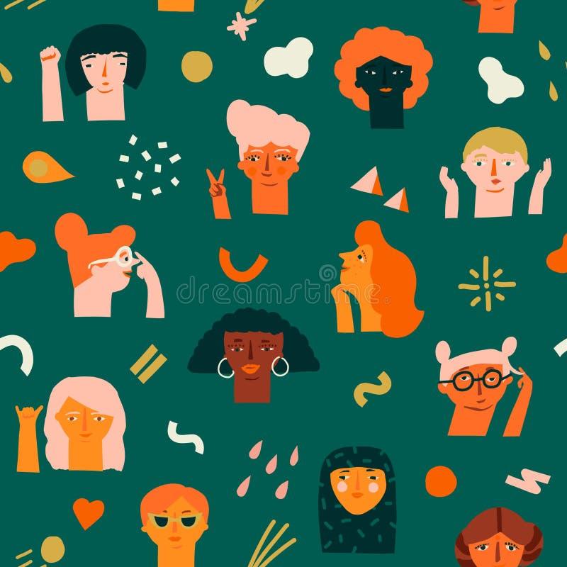De internationale vrouwen dag 8 van het naadloze patroon van Maart met divers van vrouwen ziet verschillend ras, leeftijd en bero stock illustratie