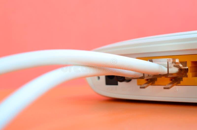 De Internet-kabelstoppen worden verbonden met de Internet-router, w royalty-vrije stock foto's