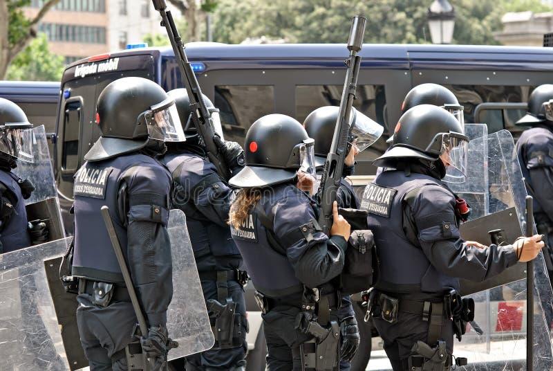 De interventie van de politie, Barcelona, Spanje royalty-vrije stock foto