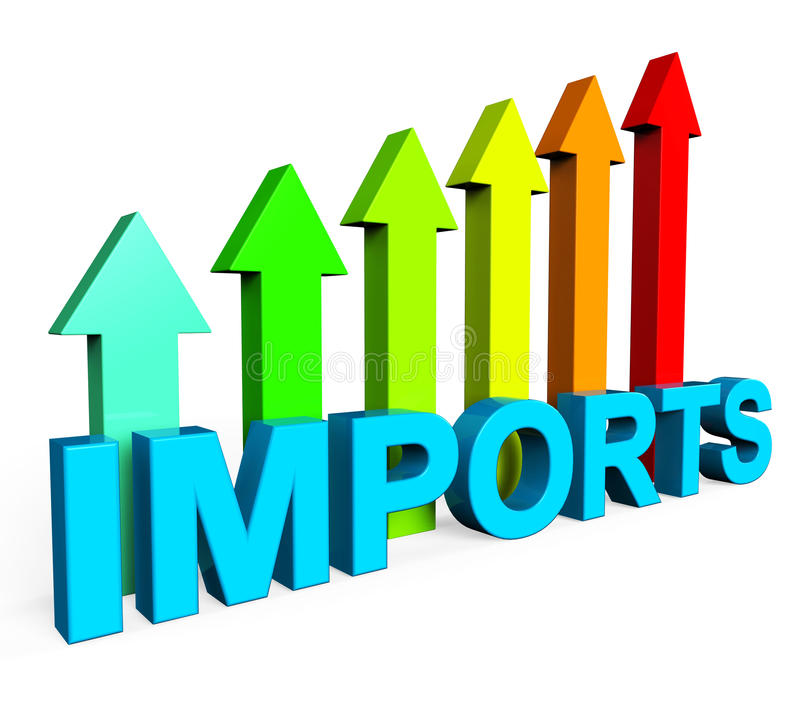 De invoer die stijgen toont in het buitenland koop en vooruitga vector illustratie