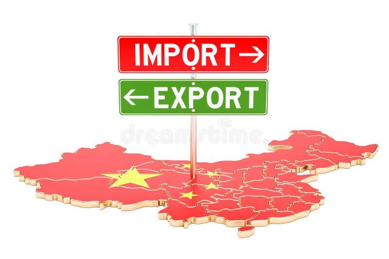 De invoer en de uitvoer in het concept van China, het 3D teruggeven vector illustratie