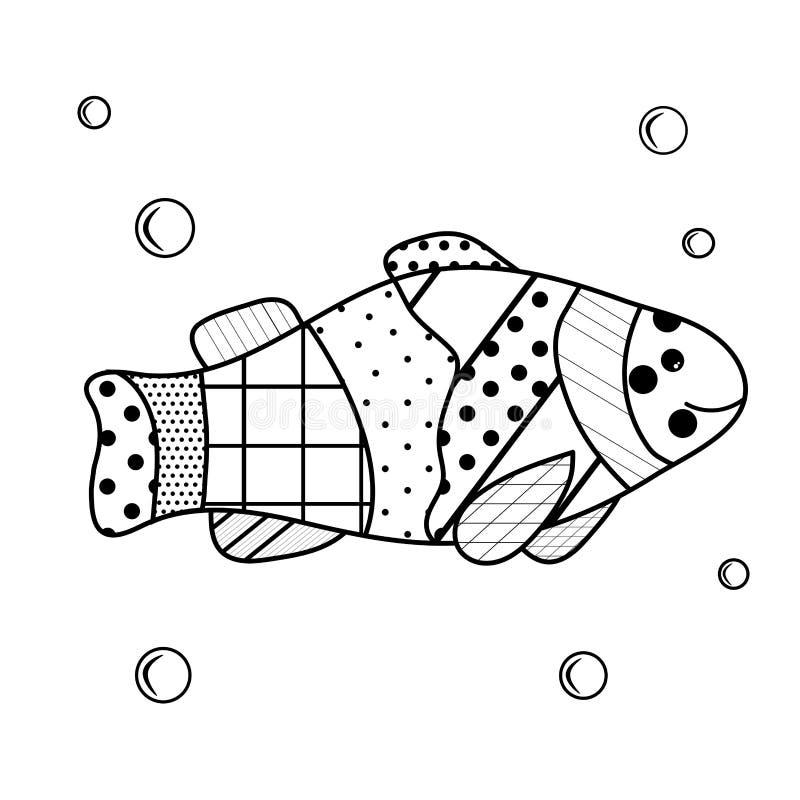 De inwoners van het overzees Kleurend boek voor kinderen en volwassenen met zenartelementen Beeldverhaalvissen met waterbellen vector illustratie
