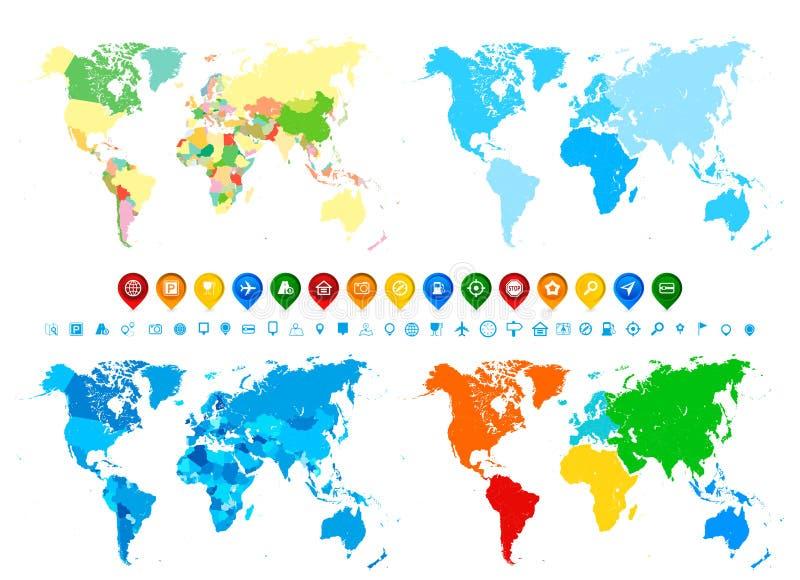 De inzameling en de navigatiepictogrammen van wereldkaarten in verschillende kleuren a stock illustratie