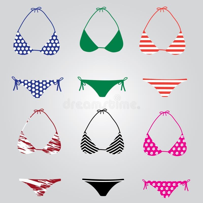De inzameling eps10 van het bikinizwempak stock illustratie