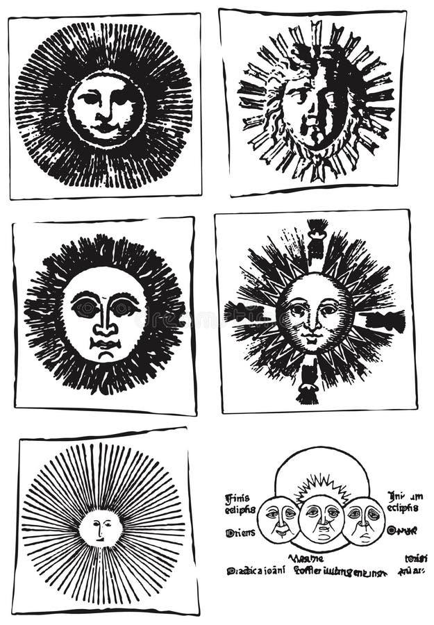 De inzameling van astrologiezonnen stock illustratie