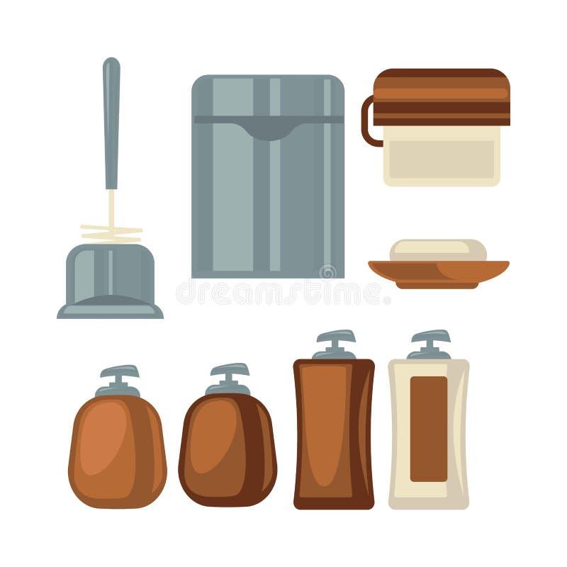 De inzameling van badkamersdingen in bruine en grijze kleuren royalty-vrije illustratie