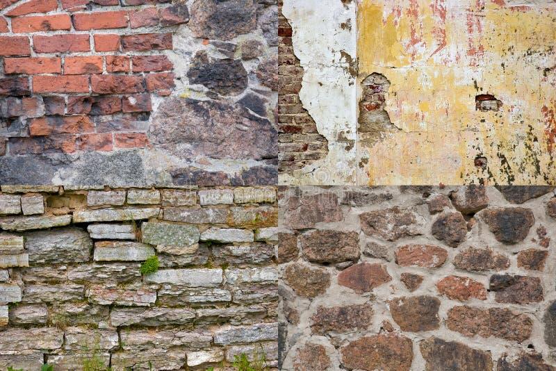 De inzameling van bakstenen muurtexturen stock foto