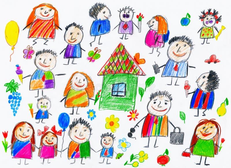 De inzameling van beeldverhaalmensen, het voorwerp van de kindtekening op document, hand getrokken kunstbeeld stock illustratie